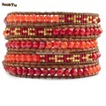 2017 coral jade seed beads new style 5 wrap bracelet