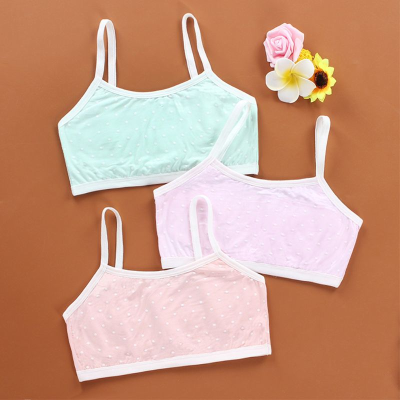 Junior Puberty Girl Vintage Polka Dot Underwear Bra Sweet Candy Color Spaghetti Strap Bralette Double Layer Padded Thin Crop Top in Matching Family Outfits from Mother Kids