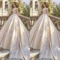 Vestido Де Noiva Свадебное Платье 2017 Белый line Этаж длина Милая Органзы С Коротким Рукавом Платье Off the Следует Ли Свадьба платье