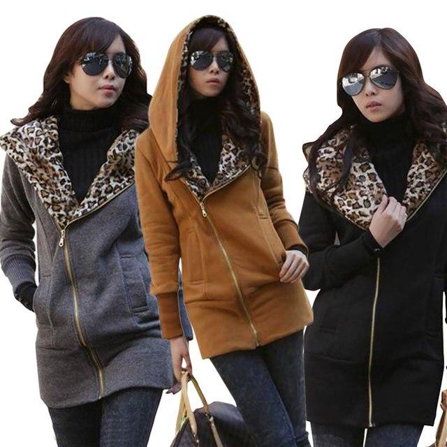 De las mujeres chaqueta de invierno 2017 Mujeres de La Moda de Invierno Sudaderas Con Capucha Calientes Sudadera Leopard Chaqueta de la Capa Delgada Abrigos chaquetas mujer