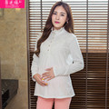 Autumn and Winter Long Sleeve Lace Blouse and Top for Pregnancy Cotton Shirt for Pregnant Women High Quality Maternity Clothes