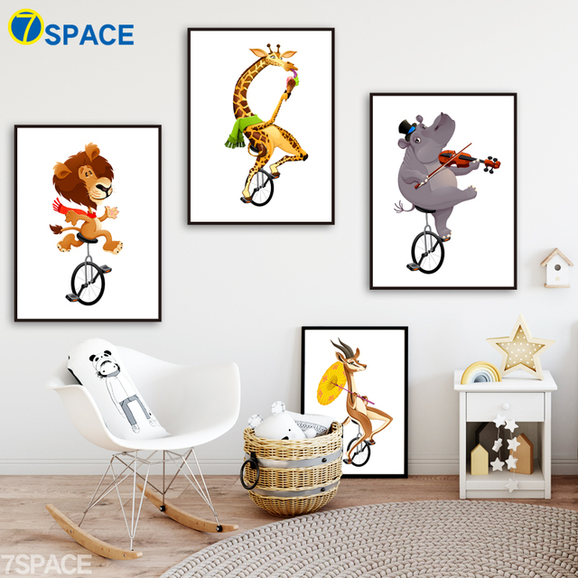 Circus Antelope Giraffe Lion Hippo Nordic Posters And Prints Wall ...