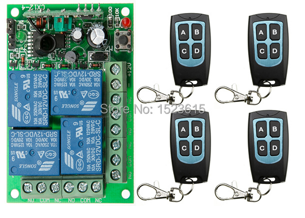 New DC12V 10A 4CH RF Wireless Remote Control System Radio Wireless Lighting Switch 315Mhz/433Mhz Receiver Transmitter new dc12v 10a mini 1ch rf wireless remote control 4 receiver 4 transmitter 315 433 mhz white black remote control with abcd key