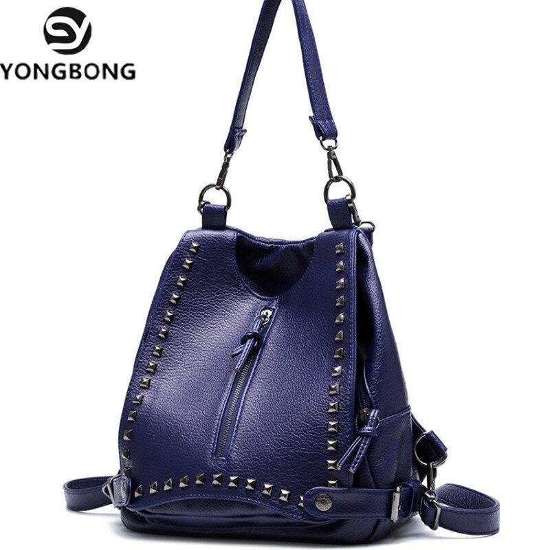 cbb845cc2f62 US $27.1 15% OFF|YONGBONG Women Rivet Backpacks Leather Female Travel  Shoulder Bag High Women Bag College Wind School Bag Backpack Girl  Mochila-in ...