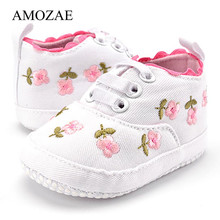Newborn First Walker Embroidery Floral Baby Shoes Spring Aut