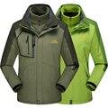 Marca das mulheres Dos Homens jaqueta jaquetas casacos Parkas para homens inverno jaqueta Corta-vento masculino térmica outerwear À Prova D' Água-Três peças