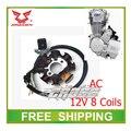 Zongshen cb250 250cc двигатель с воздушным охлаждением AC магнето катушки статора 12 В 8 катушек грязезащищенная ямы на квадроциклах аксессуары бесплатная доставка