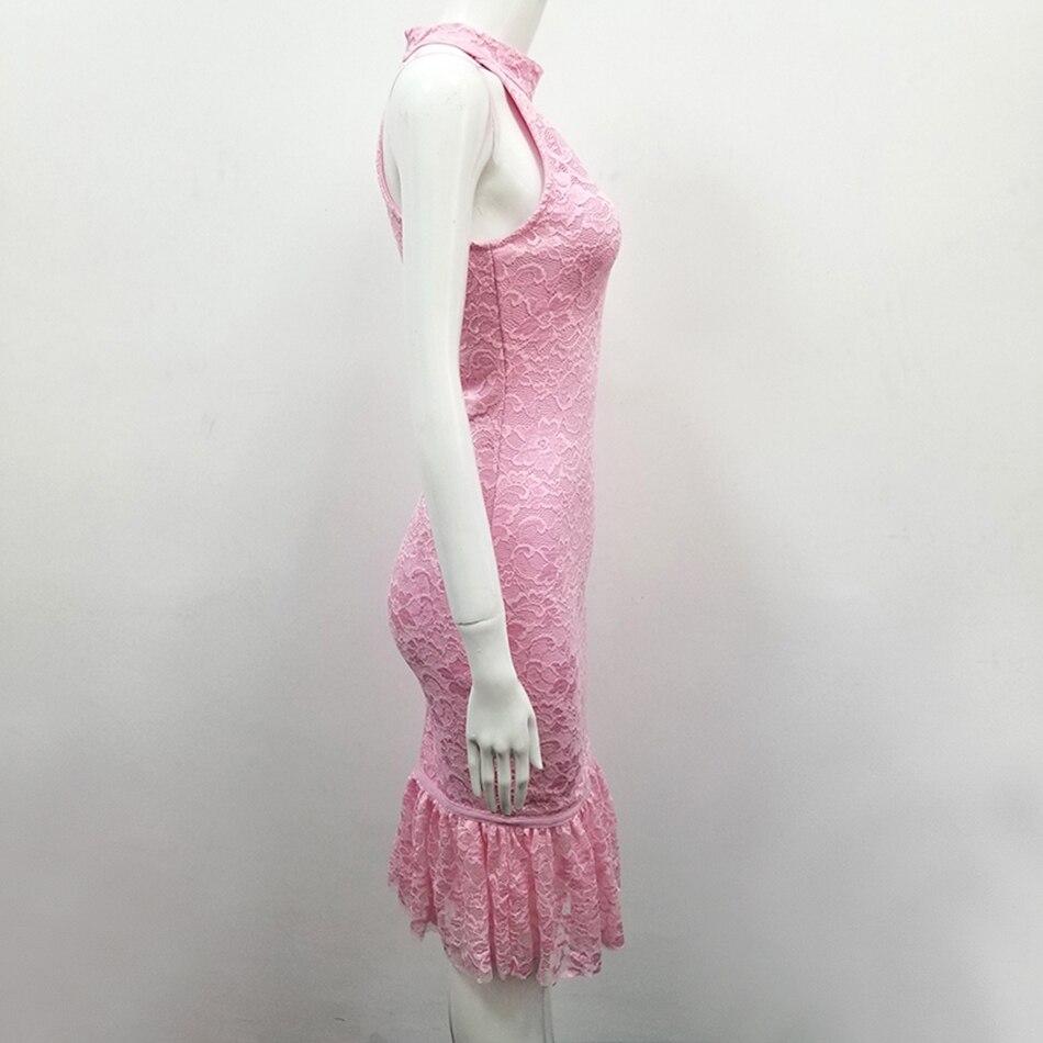 Robe Printemps Rose Col Sirène Dentelle Maigre Haut Bandage Élégant Sans 2019 Modphy Sexy Robes Party Costume Club Manches tdOqt