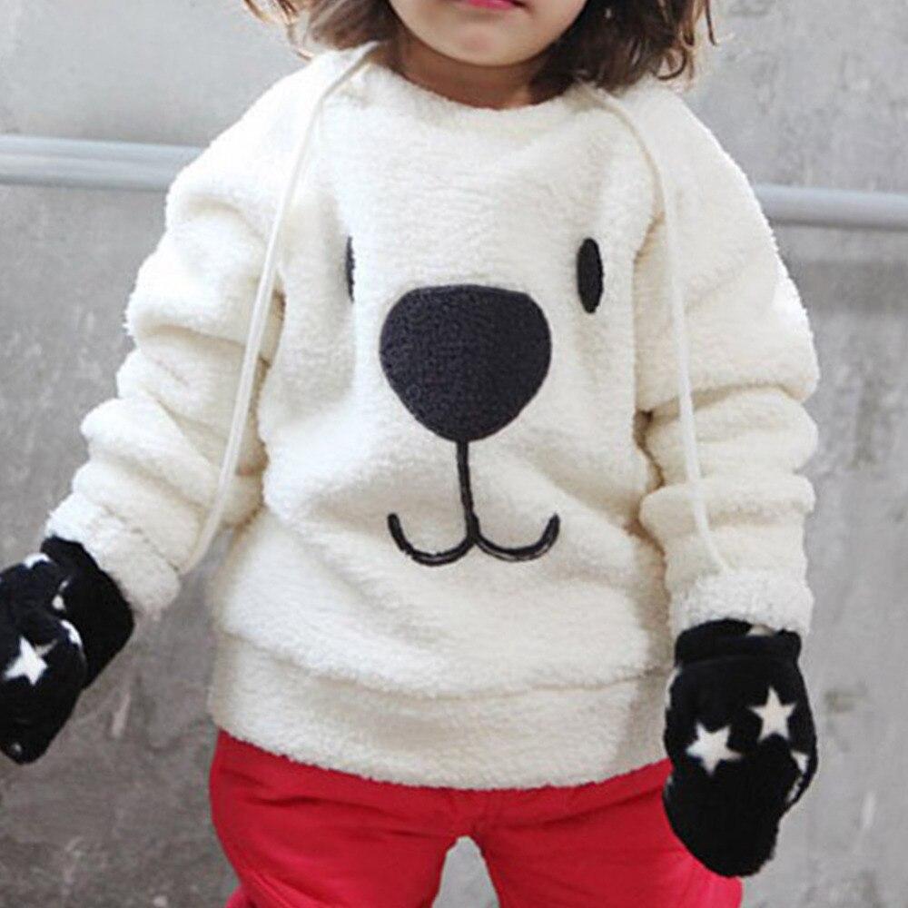 Зимние милые дети ребенок длинный рукав футболка Топы корректирующие экипажа Средства ухода за кожей Шеи Носки с рисунком медведя из мульт...