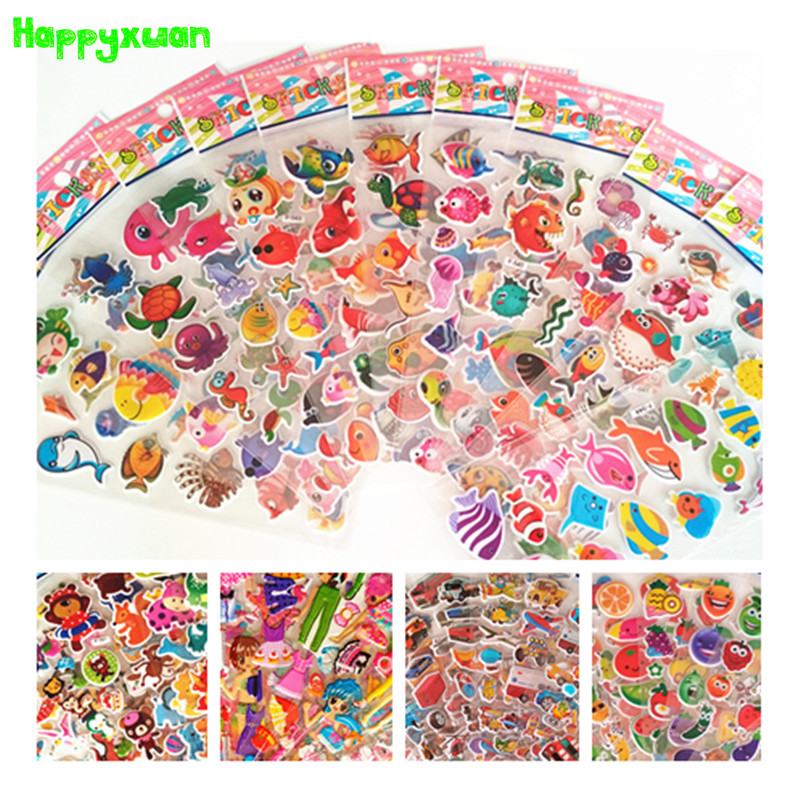 Happyxuan 70 sheets 2018 Hot 3d Cartoon PVC Puffy Stickers Children Ocean Fish Candy Animal Toy