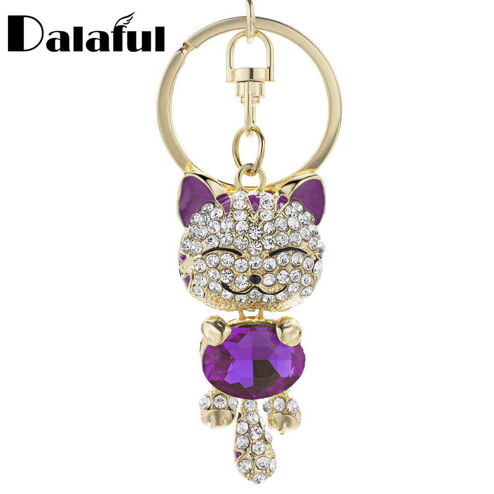 Cute Cat Crystal Rhinestone Keyrings Key Chains Rings Holder Purse Bag For Car Lovely Keychains K218C 15 colors pu leather braided woven rope double rings fit diy bag pendant key chains holder car keyrings men women keychains k224