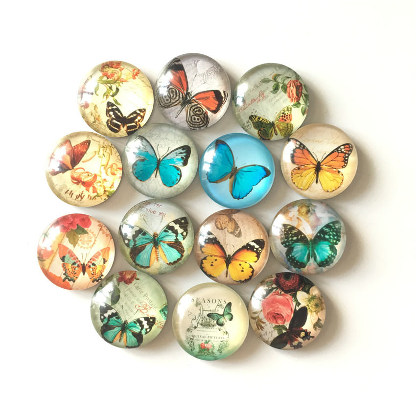 Free shipping 14pcs lot Various Butterfly Crystal Glass fridge magnet Cartoon animal message sticker Kitchen home Decor in Fridge Magnets from Home Garden