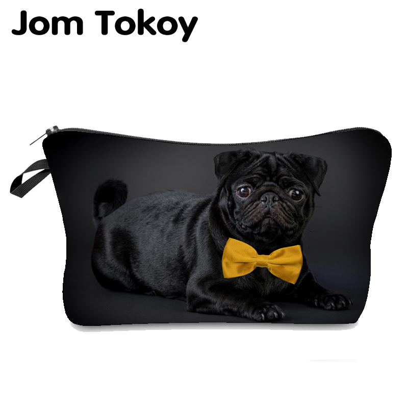 Heat Transfer Printing Black Pug With Bow Tie Makeup Bag Jom Tokoy Cosmetic Organizer Bag  Fashion Women Brand Cosmetic Bag