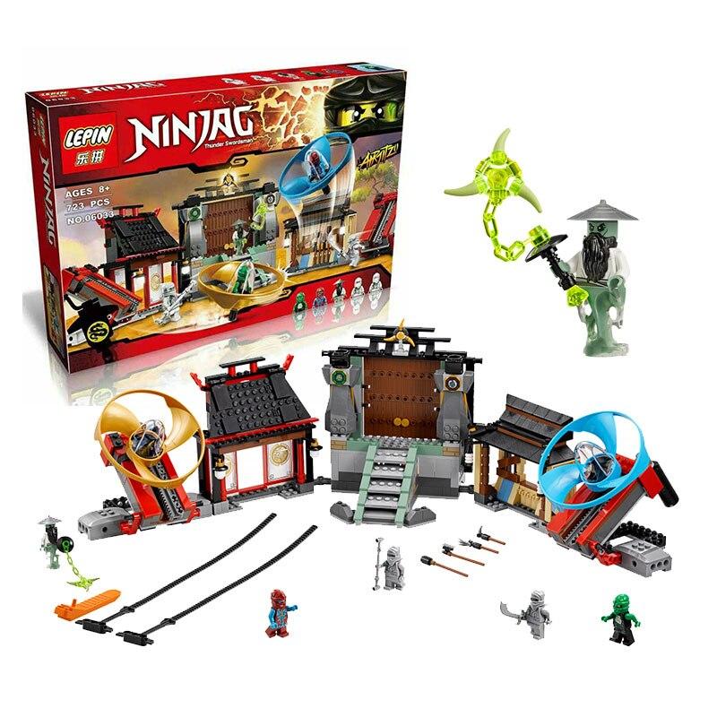 ФОТО 723Pcs 2016 New LEPIN 06033 Ninja Airjitzu Battle Grounds Model Building Kits  Blocks Brick Toy Compatible 70590