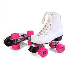 RENIAEVER double roller skates, skating shoe, Gift girls pink wheels roller skate shoes, figure skates,white