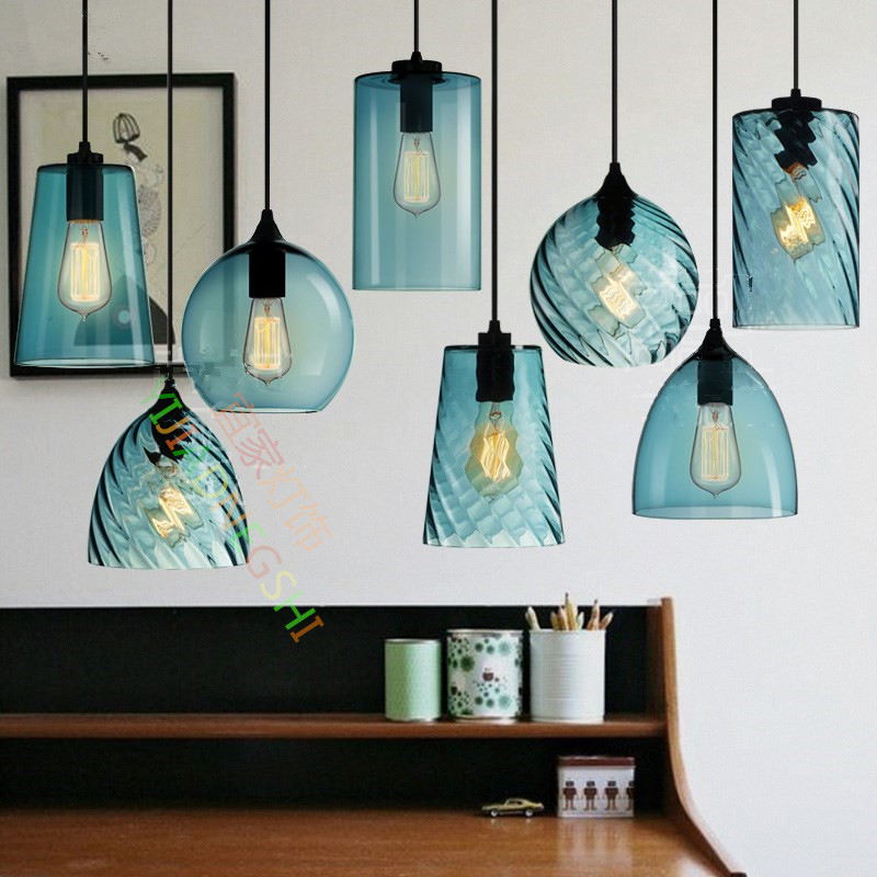 LOFT Retro Industry Single Head Led Pendant Lamp Crystal Blue Glass Coffee Bar Restaurant Living Room