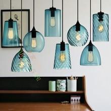 Лофт ретро промышленность одной светодио дный головы подвесной светильник LED Кристалл синий Стекло кофе бар ресторан гостиная висит освещение