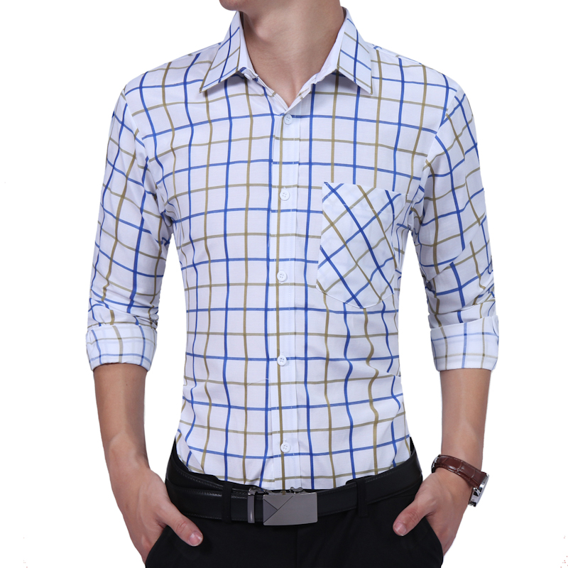Male Shirt Long-Sleeves Fashion High Quality Hit Color Plaid Casual Shirt Mens Dress Shirts Slim Men Shirt XXL TJHRT