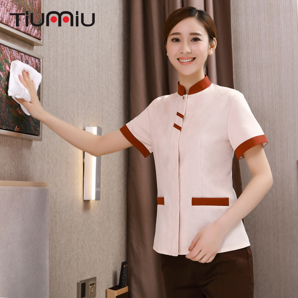 New Style Stand Collar Jacket Restaurant Hotel Uniform Waiter Short Sleeve Workwear Housekeeping Clothes Women Cleaning Overalls