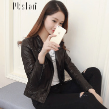 PtslanGuaranteed Genuine Leather Jacket Women Sexy Moto Luxury Real Sheepskin female basic Jackets  washed lambskin spring