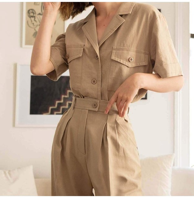 2019 Summer Women Solid Button Pocket Casual Pants New Ol Full Length Work Cargo Trousers Beige High Waist Harem Pants