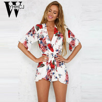 WYHHCJ 2017 Strapless v neck bodysuit women elegant flowers rompers womens jumpsuit combinaison femme One Piece beach playsuit