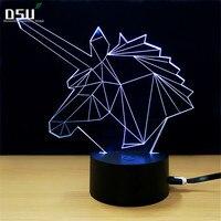 Beautiful Unicorn 3D LED Lamp LED 3D 7 Colors Night Lamp LED USB Kids Lights As