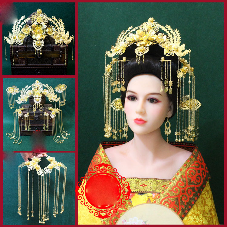 A226 Traditional Chinese Wedding Bride Hair Tiara Xiuhefu Hair Accessory Photography Stage Performance Head Piece