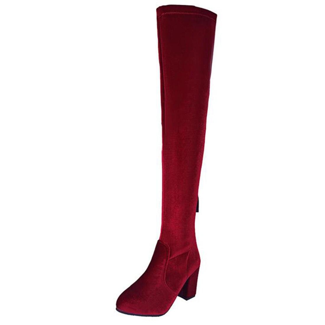 где купить  Womens Velvet Thigh High Boots Block Thick Heel Stretch Over the Knee Boots for Woman winter shoes Plus Size Wine Nude Black  по лучшей цене