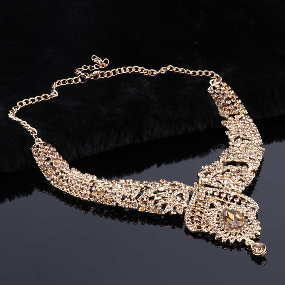 OEOEOS Indian Jewellery Crystal Necklace Earrings Set Bridal Jewelry Sets for Brides Wedding Costume Accessories Decoration