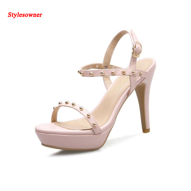 ФОТО Stylesowner Summer fashion high Platform Shoes Super High Heels 10cm with rivet A Word buckle sandals 2017 New women shoes