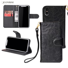 JCOVRNIE Luxury Multi-Function Bracket Phone Case Wallet for iPhone 6 6 Plus for iPhone X Camellia Pattern phone Wallet case