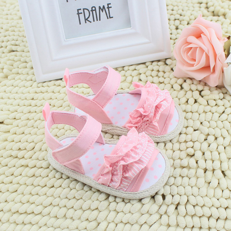 Girl Summer ShoesToddler Infant Baby Pleated Lace Soft Sole Non-slip Crib Shoes Prewalkers