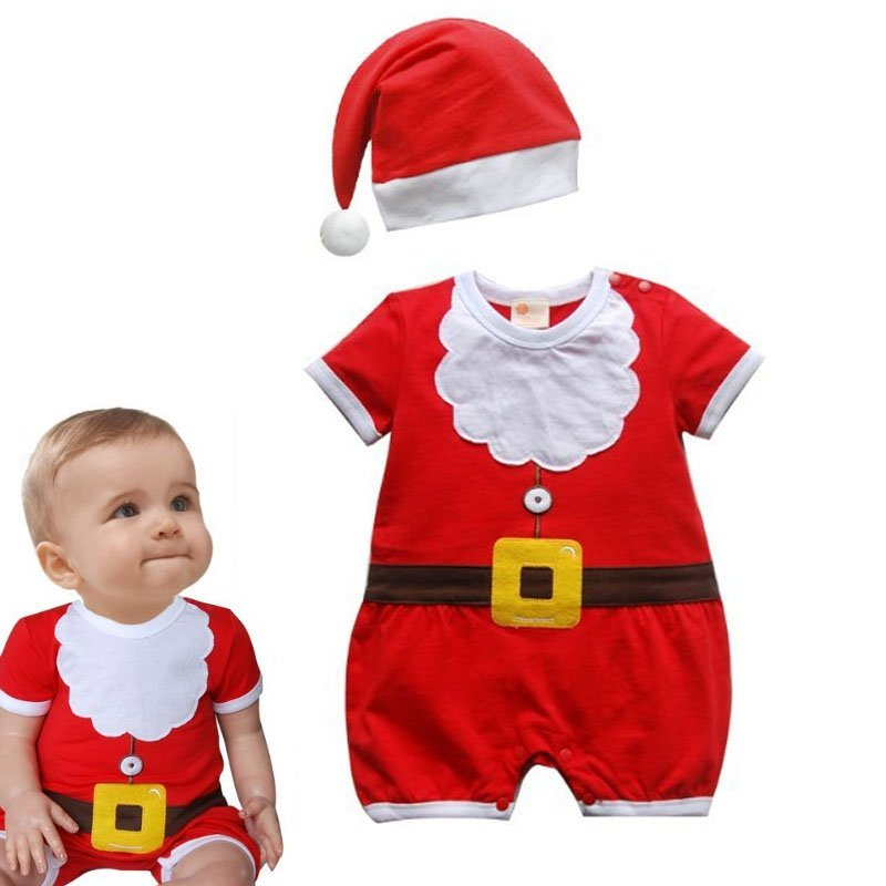 Christmas Baby Rompers Costume Kids Newborn Clothes Short Sleeve Spring Children infant clothing Set Top+Hat+Blet newborn baby photography props infant knit crochet costume peacock photo prop costume headband hat clothes set baby shower gift