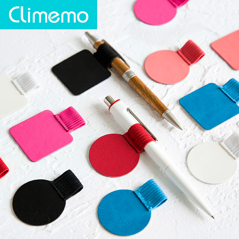 3pcs/lot Climemo Brand Pen Clip, PU Leather Pen Holder, Self-adhesive Pencil Elastic Loop For Notebooks Journals Clipboards