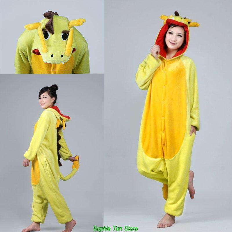 Anime Flannel Pajamas Pyjamas Adult Special Use Clothing Onesie Cosplay Costume Chinese Dragon Hoodies/Sleepwears