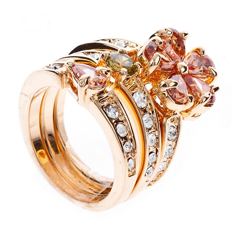 3 Pieces Set Wholesale Jewelry Rings Set Gold Color Full Crystal