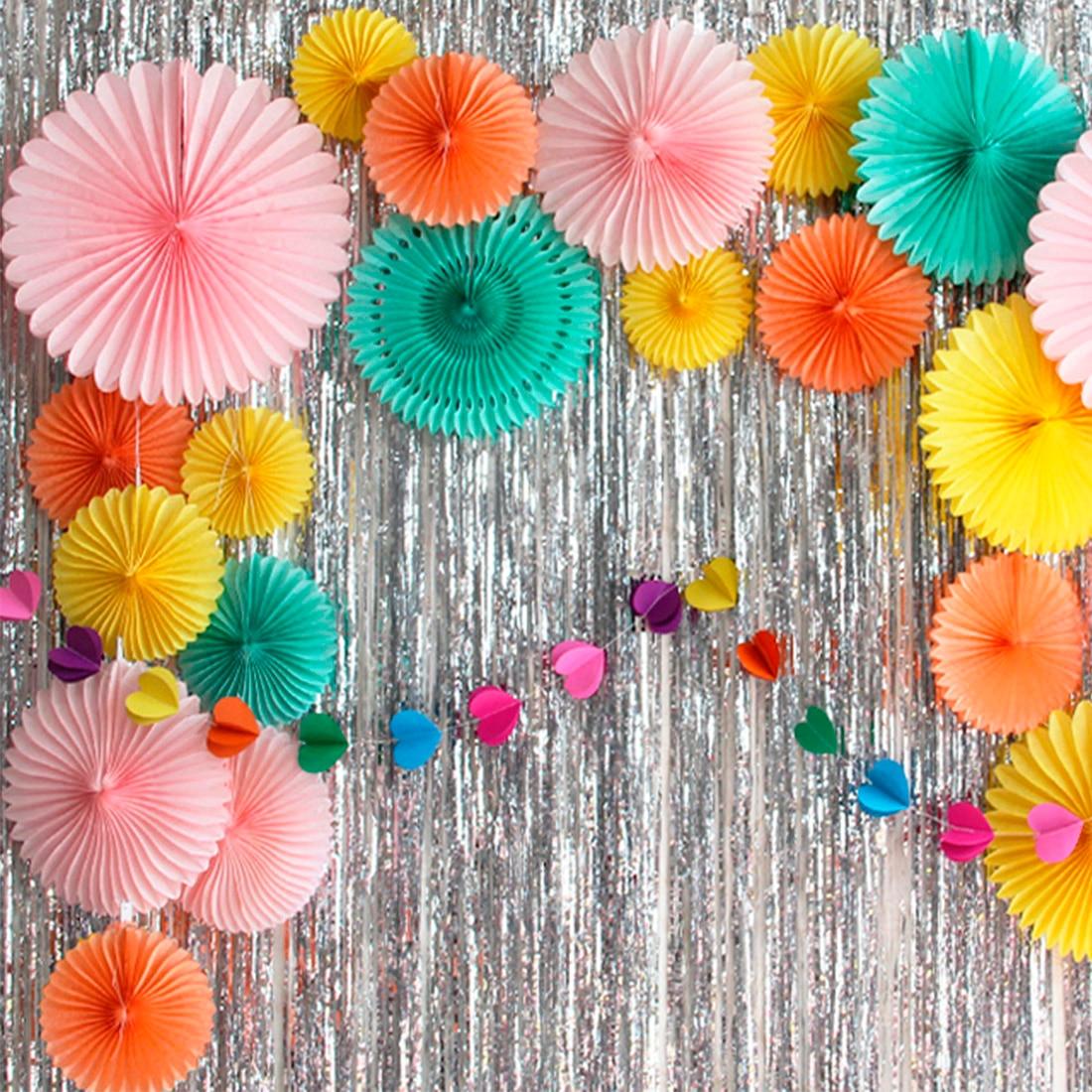New 5pcs Tissue Paper Fan Diy Crafts Hanging Wedding: 15cm 30cm Tissue Paper Cut Out Paper Fans Pinwheels