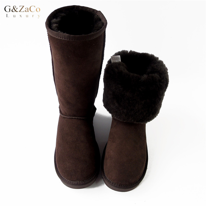 G&Zaco Luxury Winter Knee High Sheepskin Snow Boots Natural Wool Sheep Fur Boots Women Long Classic Leather Wool Boots gretel wool boots