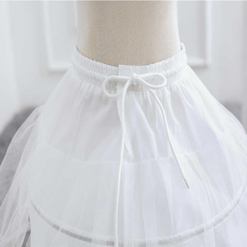 Enaguas blancas para niños falda de una capa de encaje para niños flor chica Underskirt cintura elástica cordón para ropa de una talla para niñas