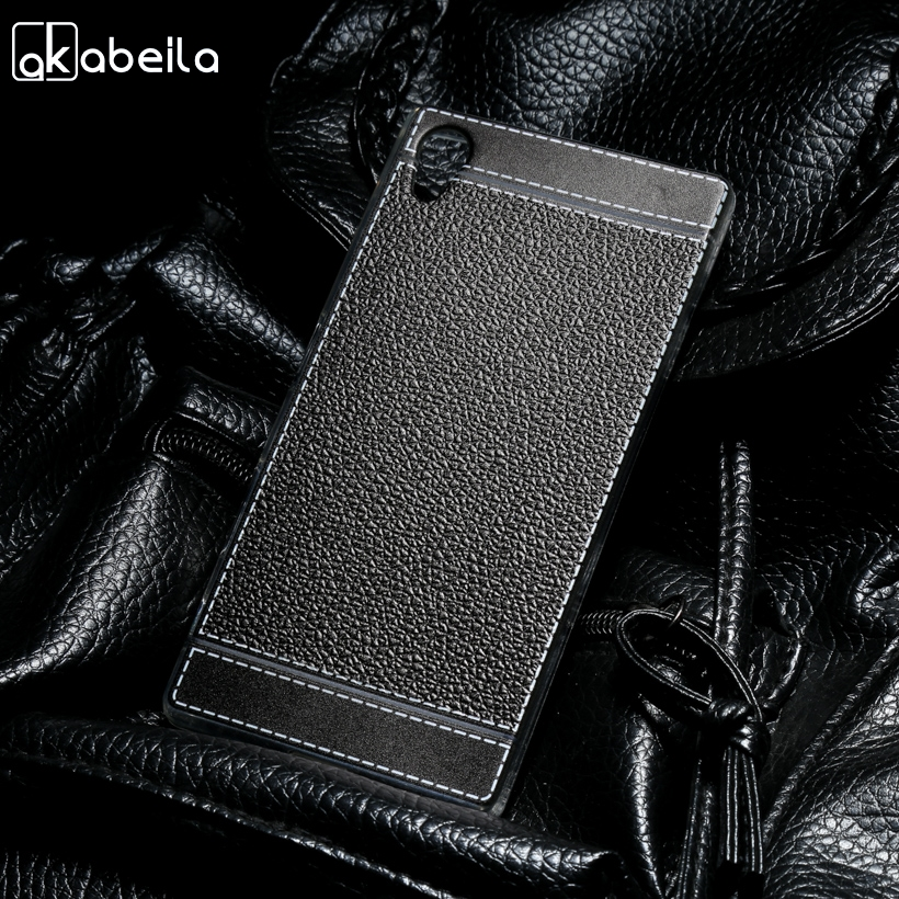AKABEILA Silicone Phone Cover Case For <font><b>Sony</b></font> Xperia Z5 E6603 E6653 Dual <font><b>E6633</b></font> E6683 5.2 inch Case Soft TPU Lichee Cover Bag image