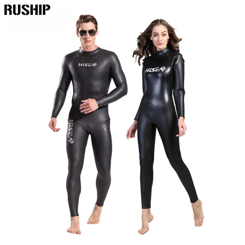 Hisea 3mm men women Triathlon Sharkskin Wetsuit Super elastic waterproof Smooth skin neoprene soft leather fabric Japan YAMAMOTO miss booty