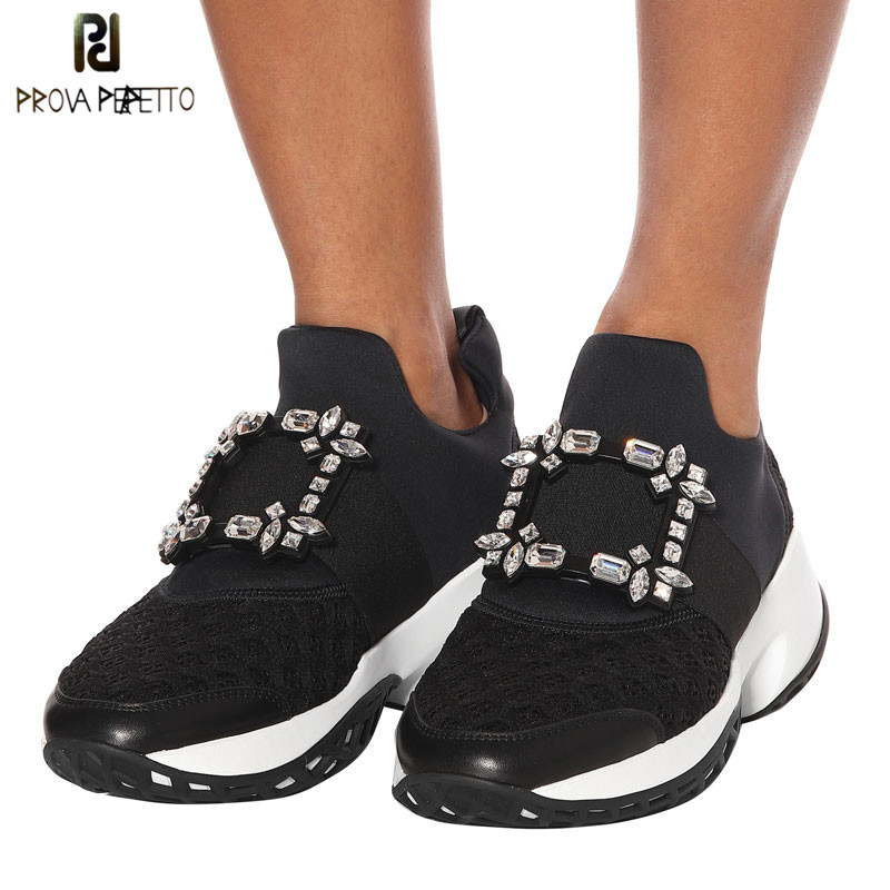 Prova Perfetto New Air Mesh Cristal Formadores Creeper Sneakers Mulheres Sapatos Casuais Sapatos de Plataforma Fundo Grosso Strass Tenis Feminino