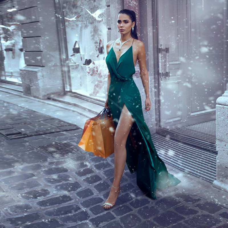 2019 Sexy Emerald Green Evening Gown With Slit Custom Made Party Dress Long Chiffon Prom Dresses Vestidos De Festa