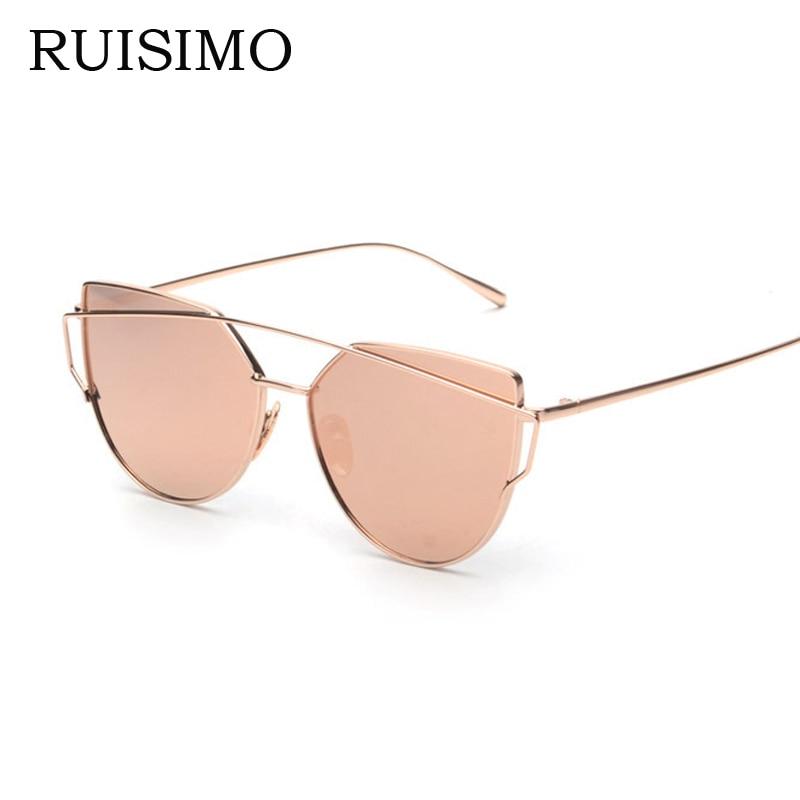 Rosa vintage Espejo femenino Mujer Ojo de gato Gafas de sol Diseñador de la marca Twin-Beams damas Gafas de sol para mujeres retro Feminino
