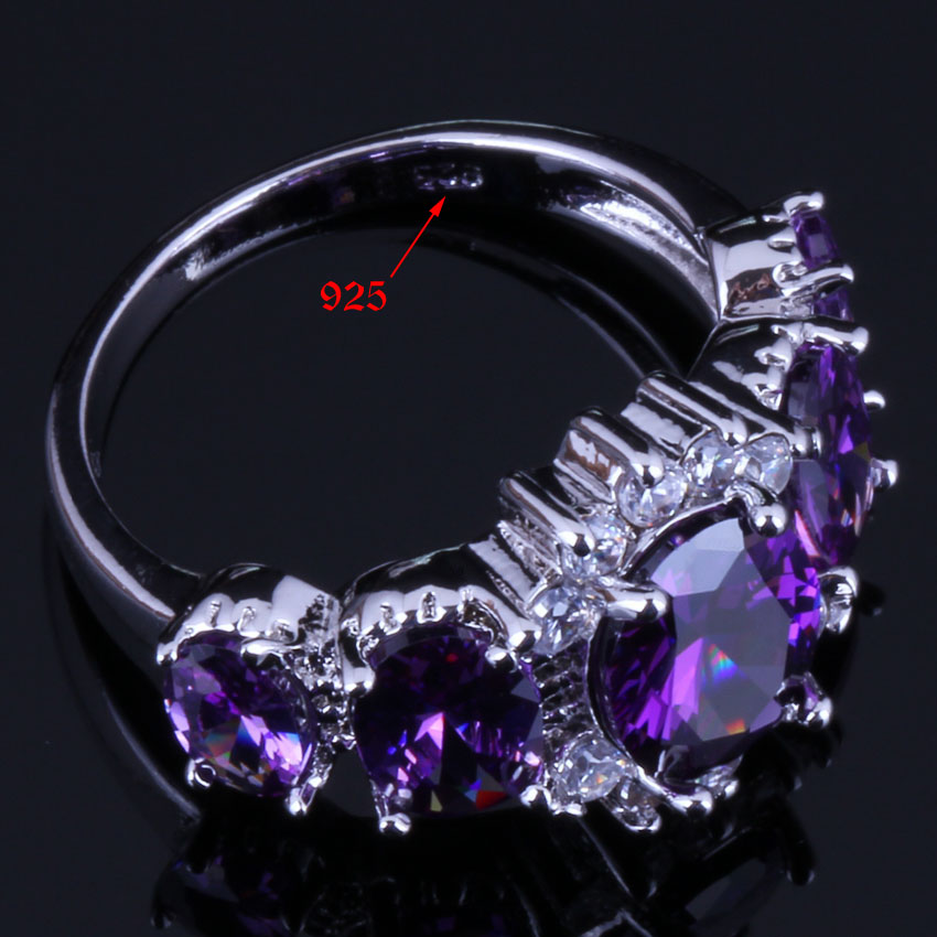 Fascinating Oval Purple Cubic Zirconia White CZ 925 Sterling Silver Ring For Women V0412 in Rings from Jewelry Accessories