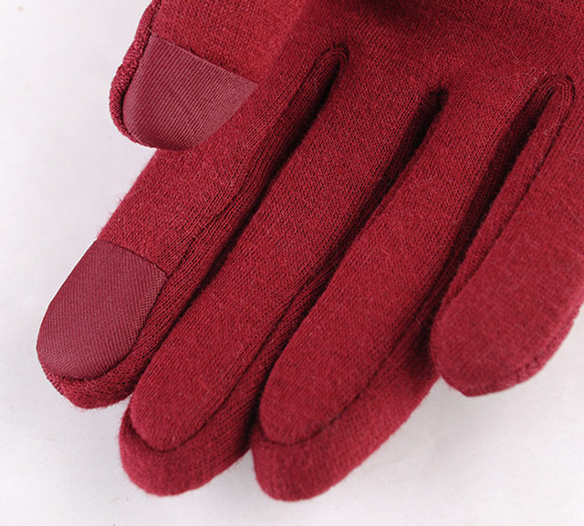 Feitong Womens Elegant Gloves 2018 Fashion Phone Touching Screen Winter Sporting Warm Full Finger Gloves Mittens Cashmere Female
