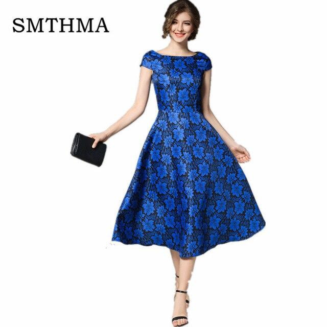 SMTHMA Neue Frauen Runway Kleid Vintage blue Print Oansatz Kurzen ...
