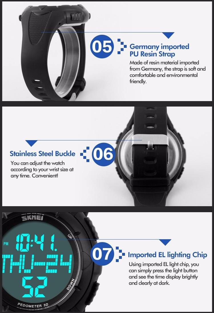 20283bd80b87 Hombre deportes relojes skmei marca de lujo LED reloj digital podómetro 3D calorías  reloj militar reloj masculino relojes de pulsera