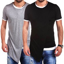 Men's Casual Round Neck Slim Fit T-shirt Fashion Irregular Short Sleeve Top New Arrival